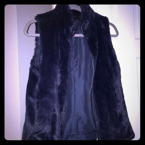 Navy blue faux fur vest